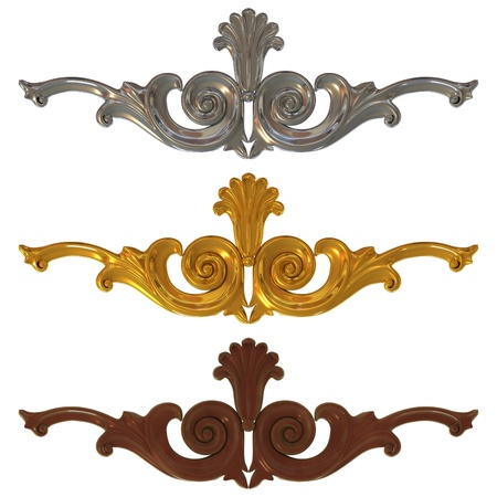 set of gold and silver ornamentation for interior decoration Stock Photo - 13694868