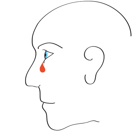 Monochrome illustration, of the human eye is dripping tears and flows in the face. Stock Vector - 13818513