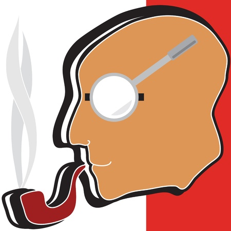 Illustration of a detective with a tobacco pipe and magnifying glass on a white background Stock Vector - 13890951