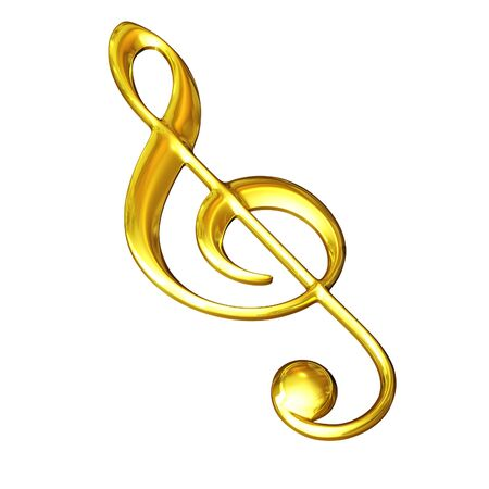 melodies: 3d illustration, gold treble clef on a white background