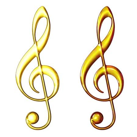 3d illustration, gold treble clef on a white background illustration