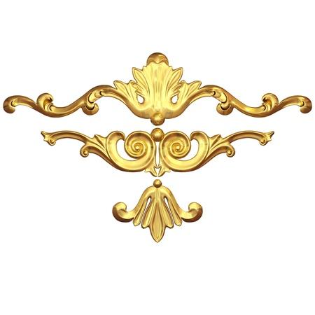 barroco: 3d conjunto de un adorno de oro antiguo en un fondo blanco