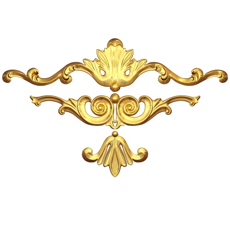 3d set of an ancient gold  ornament on a white background Stock Photo