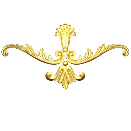 3d set of an ancient gold  ornament on a white background photo