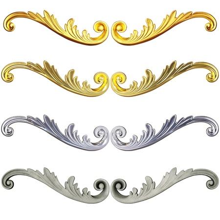 baroque: 3d conjunto de un oro antiguo y el ornamento de cerámica sobre un fondo blanco