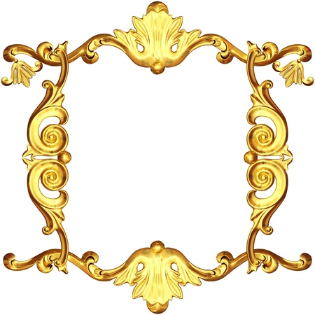baroque border: 3d gold frame on a white background Stock Photo