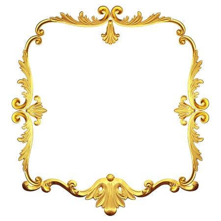 baroque frame: 3d gold framework on a white background Stock Photo