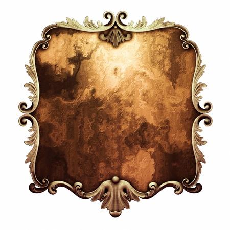 baroque frame: 3d  plaster frame, the sculptural form on a white background