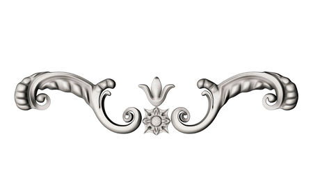 molding: 3d set of an fretwork details, the sculptural form on a white background