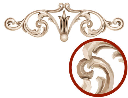 moulding: 3d sepia ornament on a white background Stock Photo