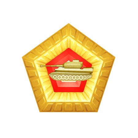pentagon: 3d golden pentagon, illustrating military aggression