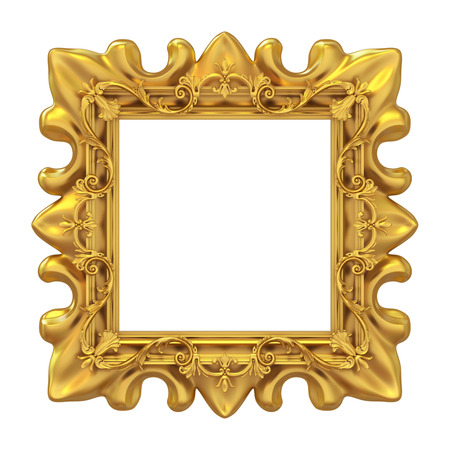 moulding: 3d golden frame for picture on white background Stock Photo