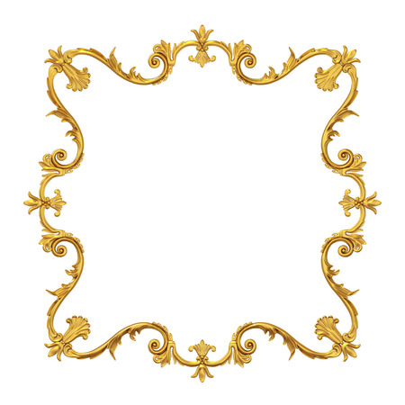 jeweller: 3d golden frame for picture on white background Stock Photo