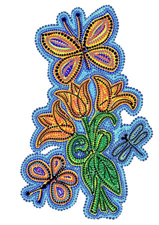 natura morta con fiori: vettoriale mosaico di punti colorati che rappresentano la natura in una giornata di sole