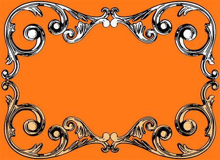 moulding: illustration, the sculptural form on an orange background Illustration