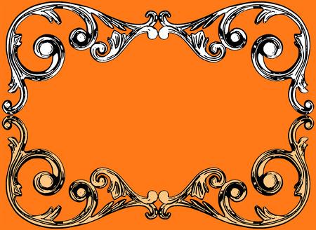 moulding: illustration, the sculptural form on an orange background Illustration