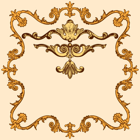 moulding: vector set of an ancient gold  ornament on a yellow background Illustration