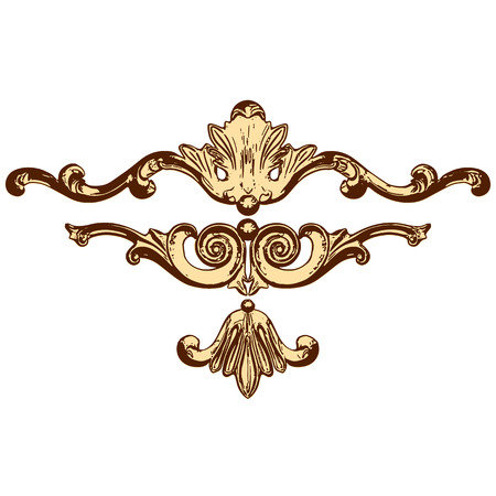 moulding: set of an ancient gold  ornament on a white background