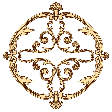 jeweller: set of an ancient gold  ornament on a white background