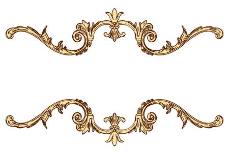 moulding: 3d set of an ancient gold ornament on a white background