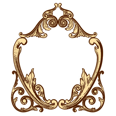 moulding: illustration set of an ancient gold ornament on a white background