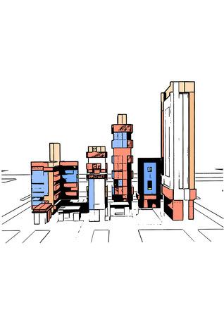 breadboard: Breadboard model of many-storeyed houses, four skyscrapers.