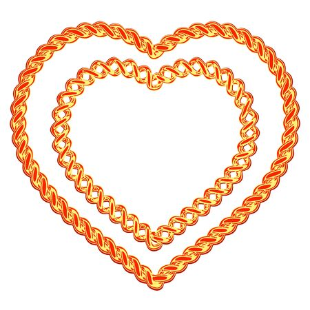 jeweller: two beautiful hearts made of a gold wire