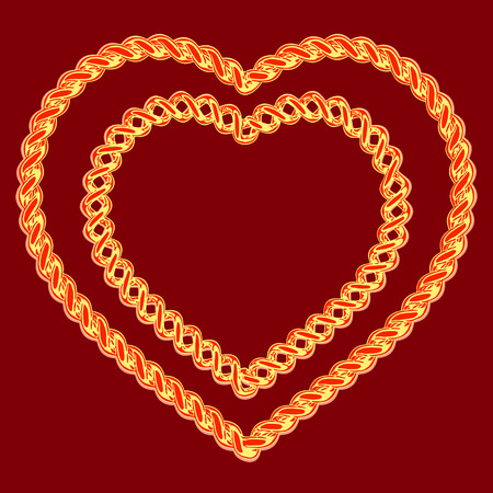 jeweller: two beautiful hearts made of a gold wire on a red background