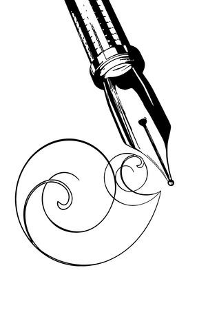 illustration fountain pen on a white background
