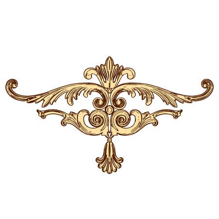moulding: illustration of golden ornaments on a white background