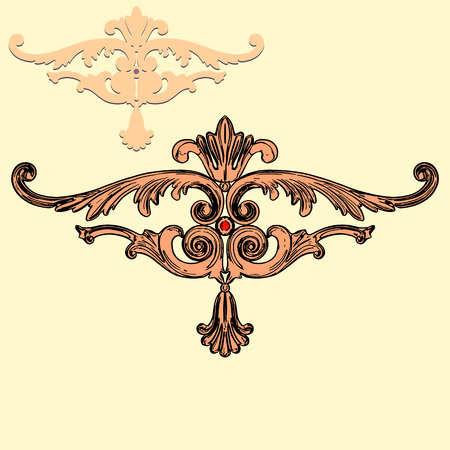 jeweller: illustration baroque ornaments on a yellow background