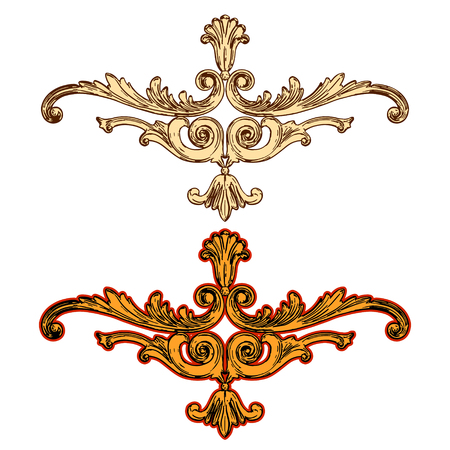 jeweller: illustration of golden ornaments on a white background