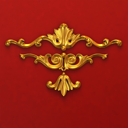 3d illustration of golden ornaments on a red background Stock Photo