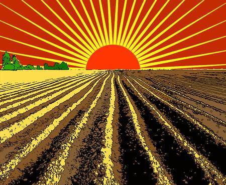 labranza: ilustraci�n vectorial tira plana de tierra arada extiende hasta el horizonte Vectores