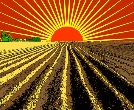 plowed: vector illustration flat strip of plowed land stretching to the horizon