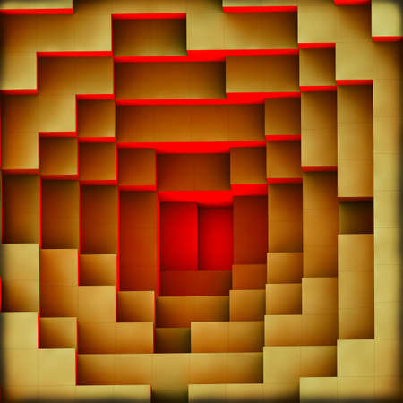 tessera: 3d illustration, of a red light burning from the bottom of the pyramid