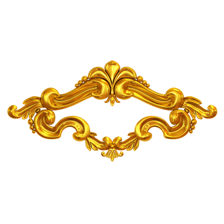 moulding: 3d illustration set of an ancient gold on a white background