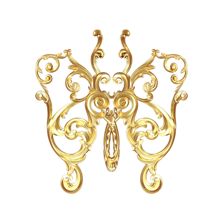 moulding: 3d illustration golden butterfly on a white background Stock Photo