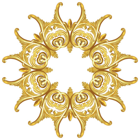3d illustration of a wreath of gold leaves and flowers Stock Photo