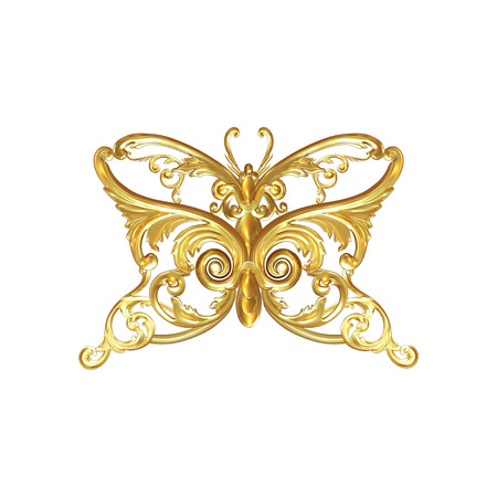 3d set of an ancient gold on a white background