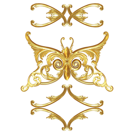 Decorative element in the form of a butterfly made of gold