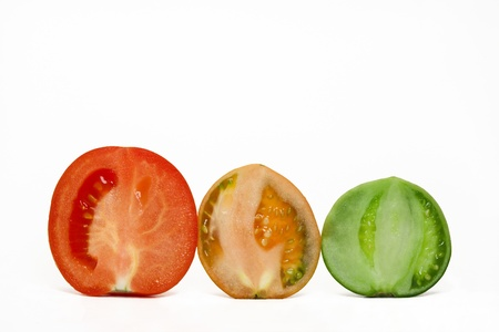 maturation: Stages of maturing of a tomato Stock Photo