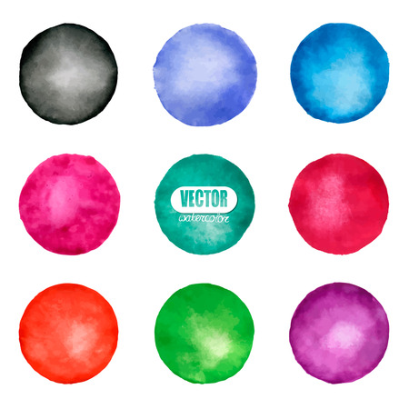 Vector watercolor circle elements for design.on white background for design, decoration. Abstract artistic shape vector element.