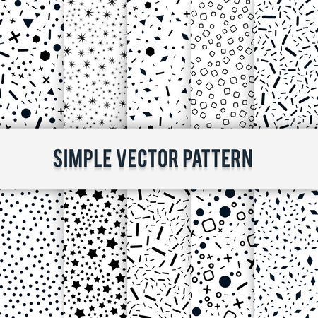 ollection: ?ollection of simple chaotic forms of vector pattern on a white background. Black and white mosaic textures. Useful for wrapping, web backgrounds and fabric design.