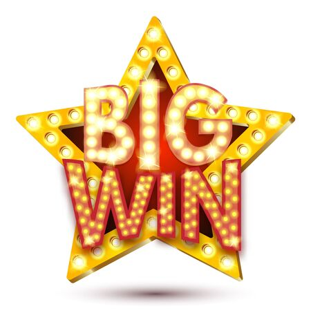 Vector illustration of banner big win star with lights isolated on a white background. Easily editable.