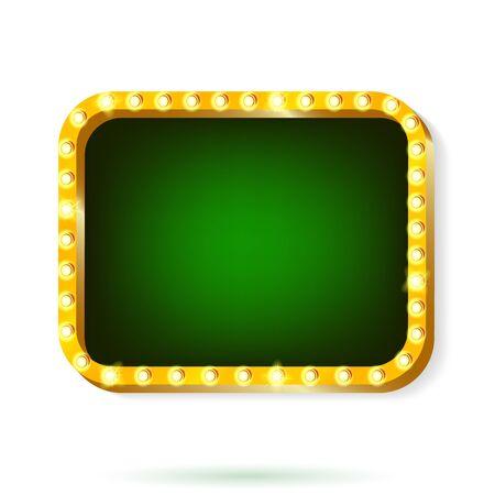 Vector illustration of retro light frame isolated on white background.