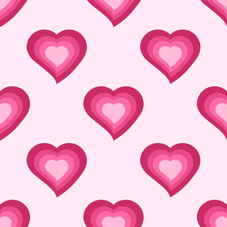 love declaration: Vector seamless pattern with cute pink hearts