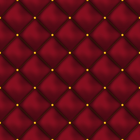 Vector seamless red buttoned leather pattern vector. Upholstery or walls. Illustration