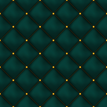 rhomb: Vector seamless green buttoned leather pattern vector. Upholstery or walls.