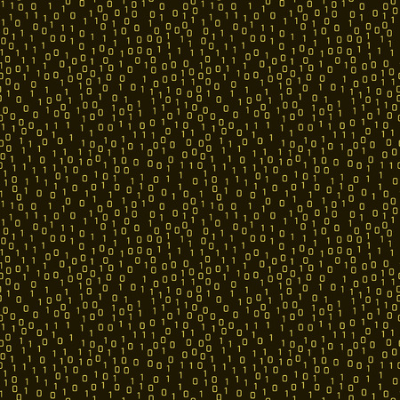 Vector seamless pattern with numbers one and zero on a black background